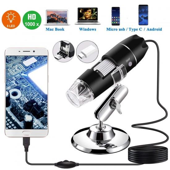USB Microscope,1000x Zoom 8 LED USB 2.0 Digital Mini Microscope